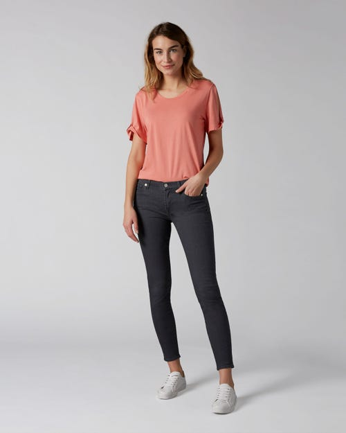 7 For All Mankind - The Skinny Crop B(Air) Smoke Grey