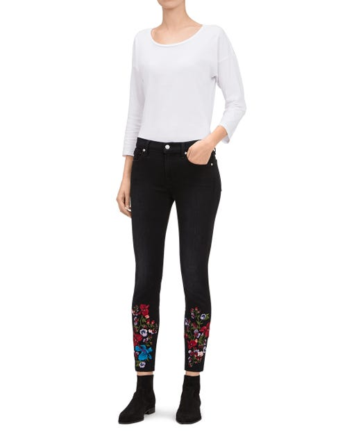 ANKLE SKINNY BLACK SATEEN
