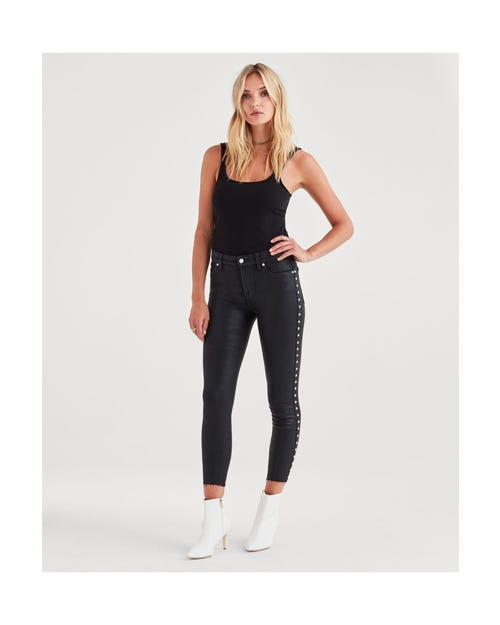 ANKLE SKINNY BAIR BLACK COATED WITH SIDES STUDS & CUT OFF HEM