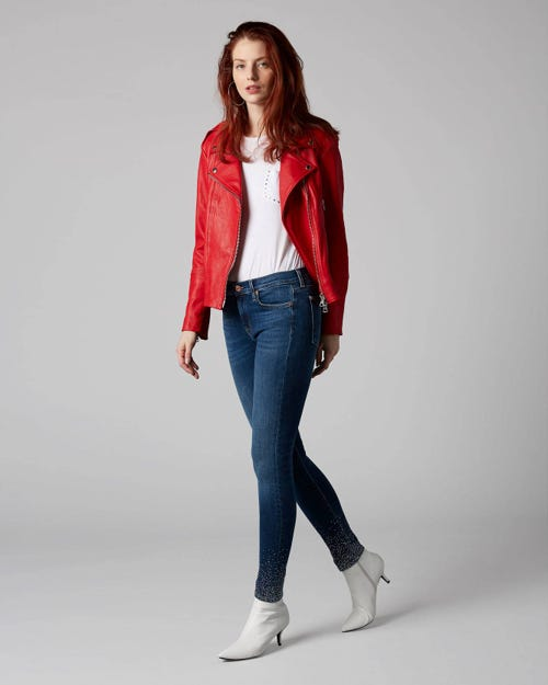 7 For All Mankind - The Skinny Crop Slim Illusion Old Song With Crystal Hem