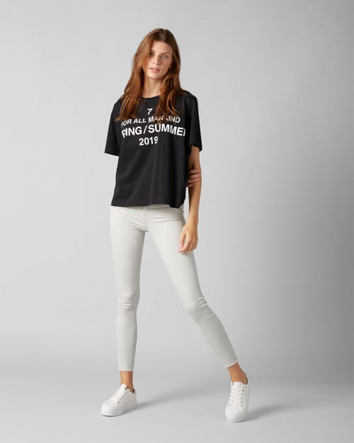 7 for all Mankind - THE SKINNY CROP COLORED SLIM ILLUSION MIST WITH RAW CUT AND BACK UNROLLED HEM