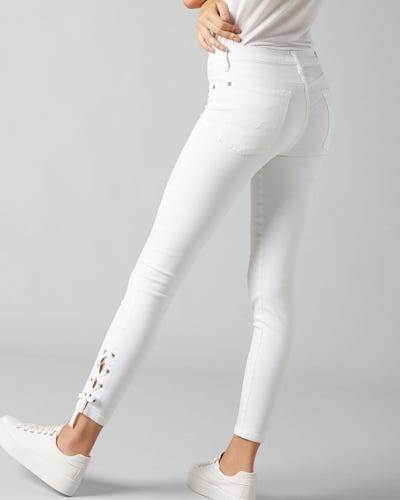 7 For All Mankind - The Skinny Crop Slim Illusion Pure White With Lace Hem
