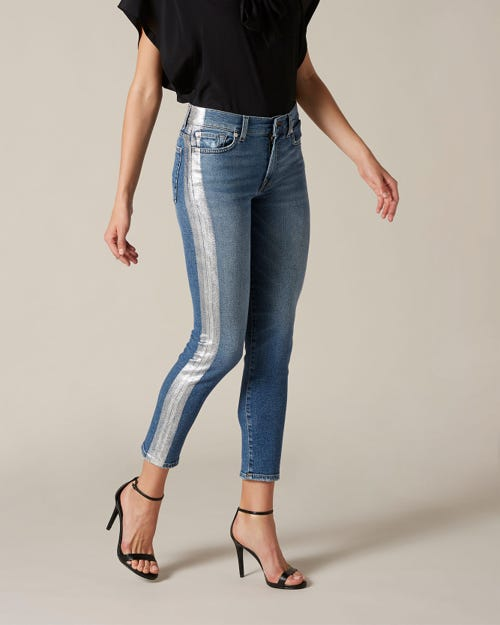 ROXANNE ANKLE LUXE VINTAGE CAPITOLA SILVER LAMINATED OUTSEAM