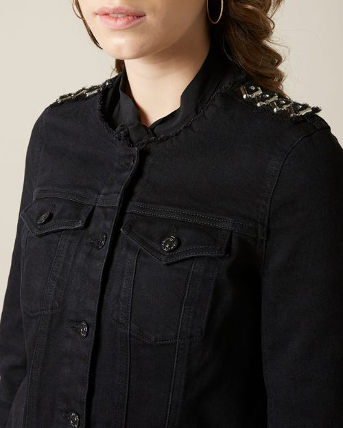 DENIM JACKET NOIR WITH DECORATIVE TAPE