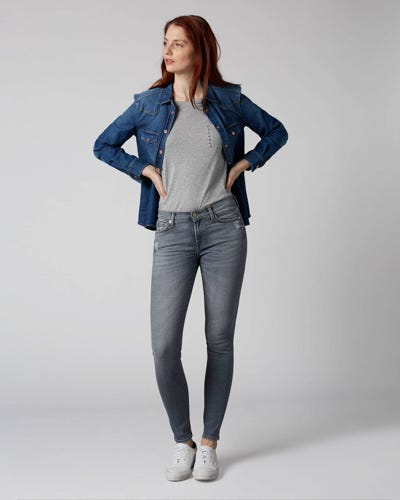 7 For All Mankind - The Skinny Slim Illusion Drifted Distressed