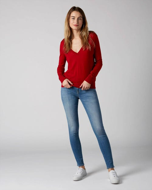 7 For All Mankind - The Skinny Slim Illusion Heartfelt With Braides