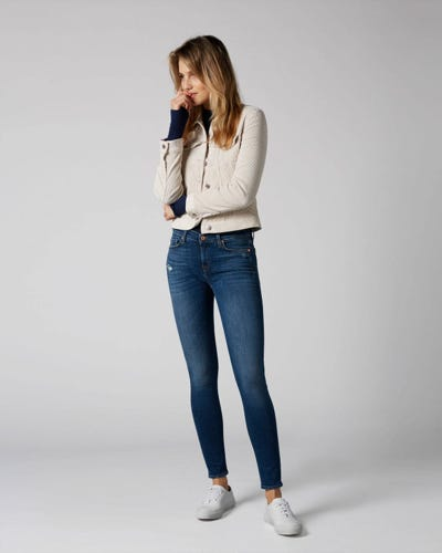 7 For All Mankind - The Skinny Slim Illusion Old Song Distressed