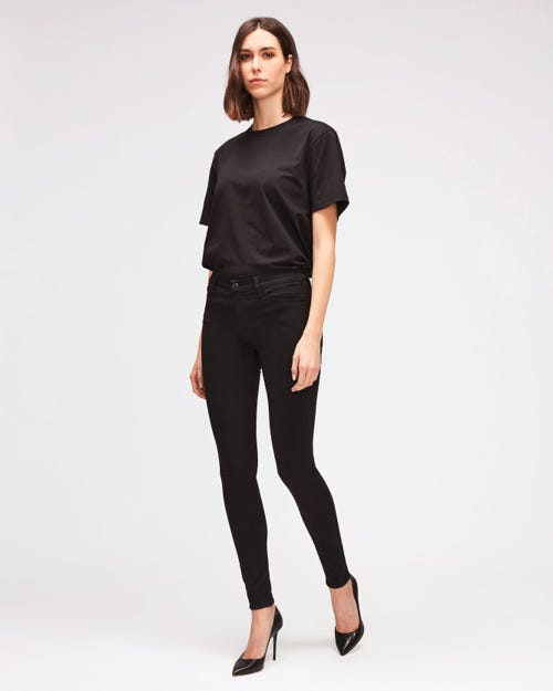 HIGH WAIST SKINNY SLIM ILLUSION LUXE RINSED BLACK