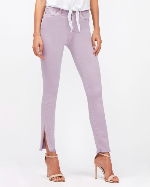 HW SKINNY CROP COLORED SLIM ILLUSION LILAC WITH SPLIT FRAYED HEM