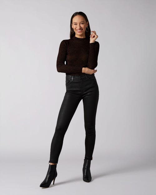 7 For All Mankind - High Waist Skinny Crop Unrolled Coated Slim Illusion Black With Zips