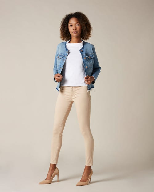 HIGH WAIST SKINNY CROP SATEEN SANDCASTLE