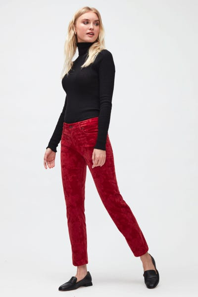 THE STRAIGHT CROP FLORAL VELVET  SIMPLY RED